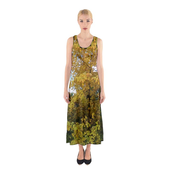 Vermont Fall Trees Sleeveless Maxi Dress