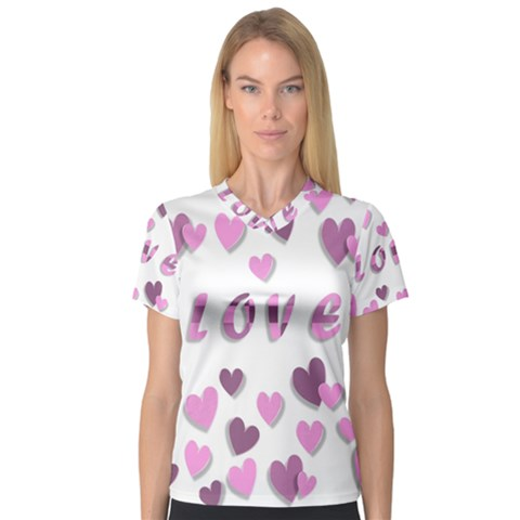 Love Valentine S Day 3d Fabric Women s V-neck Sport Mesh Tee by Nexatart
