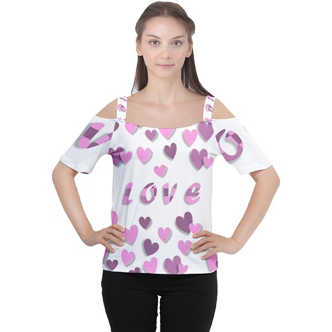 Love Valentine S Day 3d Fabric Women s Cutout Shoulder Tee by Nexatart