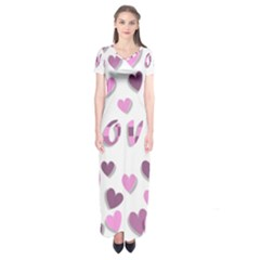 Love Valentine S Day 3d Fabric Short Sleeve Maxi Dress by Nexatart