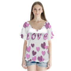 Love Valentine S Day 3d Fabric Flutter Sleeve Top