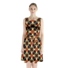Kaleidoscope Image Background Sleeveless Chiffon Waist Tie Dress by Nexatart
