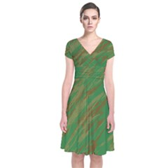 Brown Green Texture                 Short Sleeve Front Wrap Dress by LalyLauraFLM