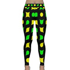 Yellow Green Shapes                                                     Yoga Leggings by LalyLauraFLM