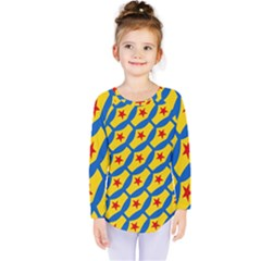 Images Album Heart Frame Star Yellow Blue Red Kids  Long Sleeve Tee by Jojostore