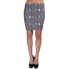 Line Hole Plaid Pattern Bodycon Skirt