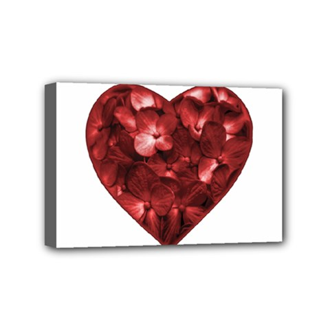Floral Heart Shape Ornament Mini Canvas 6  X 4  by dflcprints