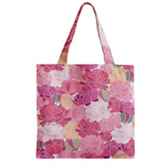 Peonies Flower Floral Roes Pink Flowering Zipper Grocery Tote Bag by Jojostore