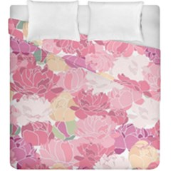 Peonies Flower Floral Roes Pink Flowering Duvet Cover Double Side (king Size) by Jojostore