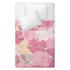 Peonies Flower Floral Roes Pink Flowering Duvet Cover Double Side (single Size) by Jojostore
