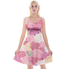 Peonies Flower Floral Roes Pink Flowering Reversible Velvet Sleeveless Dress