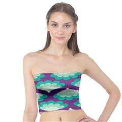 Purple Flower Fan Tube Top