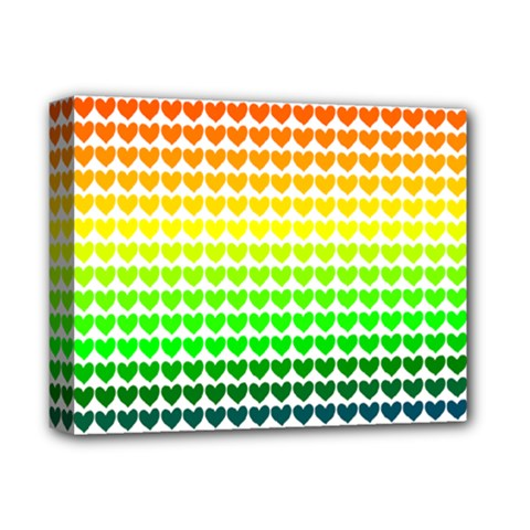 Rainbow Love Heart Valentine Orange Yellow Green Blue Deluxe Canvas 14  X 11  by Jojostore