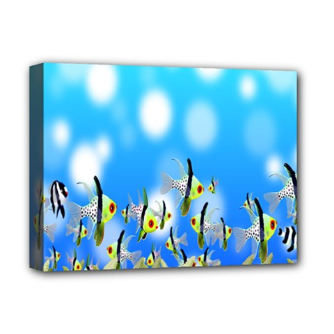 Pisces Underwater World Fairy Tale Deluxe Canvas 16  X 12   by Nexatart