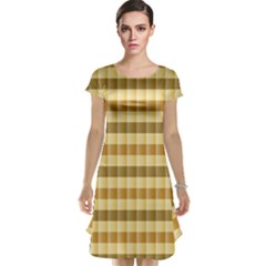 Pattern Grid Squares Texture Cap Sleeve Nightdress