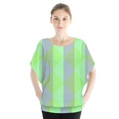 Squares Triangel Green Yellow Blue Blouse