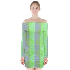 Squares Triangel Green Yellow Blue Long Sleeve Off Shoulder Dress