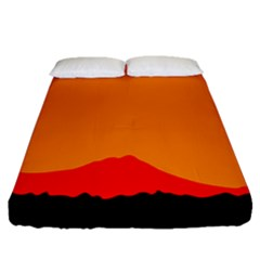 Sunset Orange Simple Minimalis Orange Montain Fitted Sheet (queen Size) by Jojostore