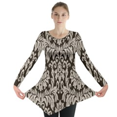 Wild Textures Damask Wall Cover Long Sleeve Tunic  by Jojostore