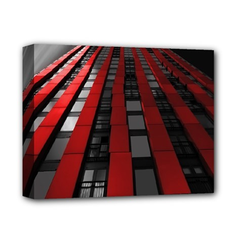 Red Building City Deluxe Canvas 14  X 11
