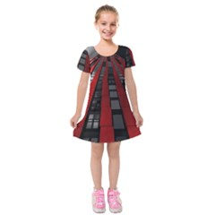 Red Building City Kids  Short Sleeve Velvet Dress