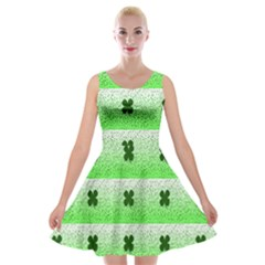Shamrock Pattern Background Velvet Skater Dress