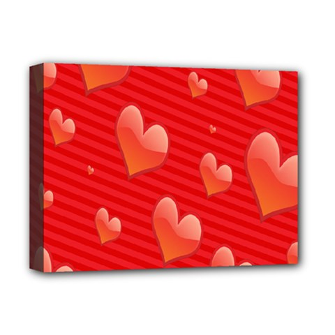Red Hearts Deluxe Canvas 16  X 12