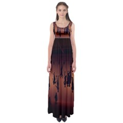 Silhouette Of Circus People Empire Waist Maxi Dress