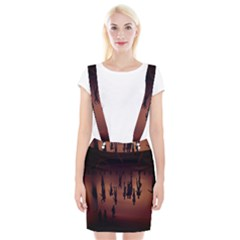 Silhouette Of Circus People Suspender Skirt
