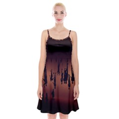 Silhouette Of Circus People Spaghetti Strap Velvet Dress