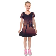 Silhouette Of Circus People Kids  Short Sleeve Velvet Dress