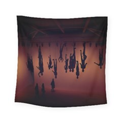 Silhouette Of Circus People Square Tapestry (small)