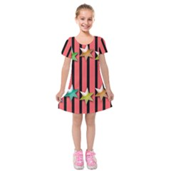 Star Christmas Greeting Kids  Short Sleeve Velvet Dress by Nexatart