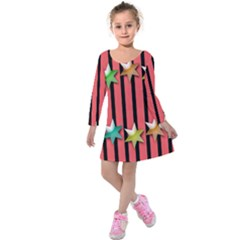 Star Christmas Greeting Kids  Long Sleeve Velvet Dress by Nexatart