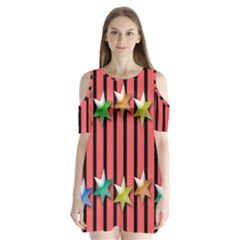 Star Christmas Greeting Shoulder Cutout Velvet  One Piece by Nexatart