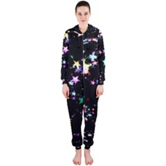 Star Ball About Pile Christmas Hooded Jumpsuit (ladies)  by Nexatart