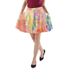 Watercolour Watercolor Paint Ink  A Line Pocket Skirt by Nexatart