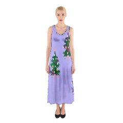 Watercolour Paint Dripping Ink  Sleeveless Maxi Dress