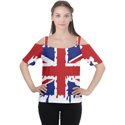 Uk Splat Flag Women s Cutout Shoulder Tee by Nexatart