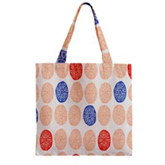 Wheel Circle Red Blue Zipper Grocery Tote Bag