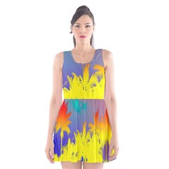 Tropical Cool Coconut Tree Scoop Neck Skater Dress