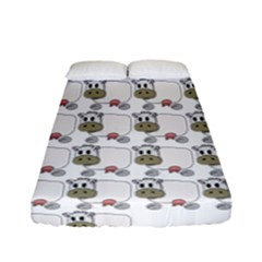 Cow Eating Line Fitted Sheet (full/ Double Size) by Jojostore