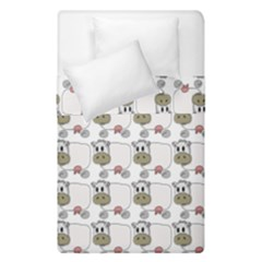 Cow Eating Line Duvet Cover Double Side (single Size) by Jojostore
