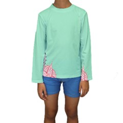 Flower Floral Green Kids  Long Sleeve Swimwear