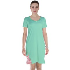 Flower Floral Green Short Sleeve Nightdress by Jojostore
