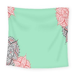 Flower Floral Green Square Tapestry (large)