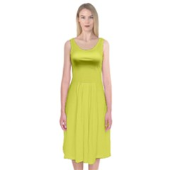 Fun Little Green Wave Midi Sleeveless Dress by Jojostore
