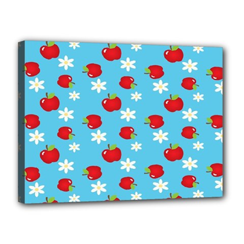 Fruit Red Apple Flower Floral Blue Canvas 16  X 12
