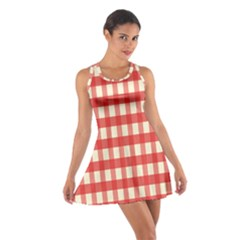 Gingham Red Plaid Cotton Racerback Dress