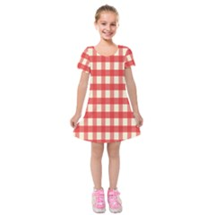 Gingham Red Plaid Kids  Short Sleeve Velvet Dress